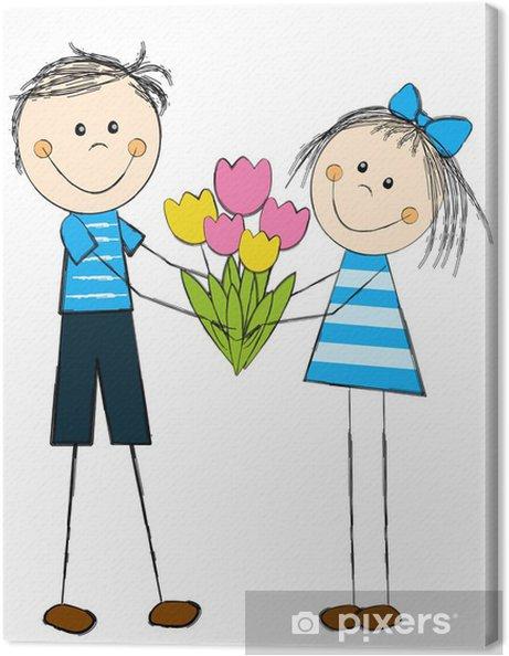 7bb9be58684b3e Canvas Meisje met jongen en bloemen • Pixers® - We leven om te ...