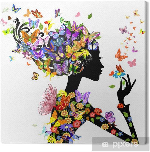 Canvas Meisje, mode, bloemen met vlinders - Mode