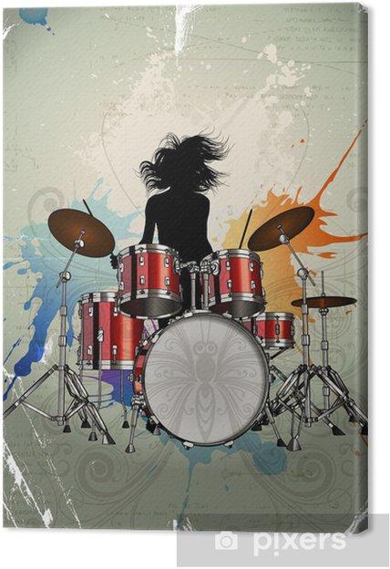 Canvas Meisje spelen de drums - Muziek