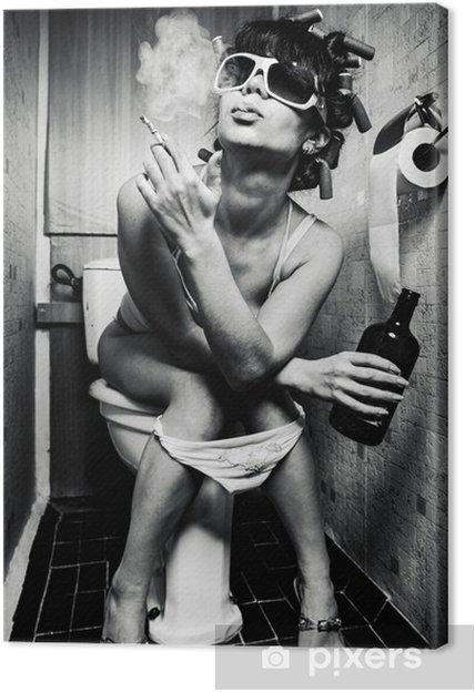 Canvas Meisje zit in een toilet - Verslaving