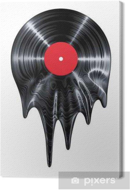 Canvas Melting vinylplaat / 3D render van vinyl record smelten - Hobby's en Vrije tijd