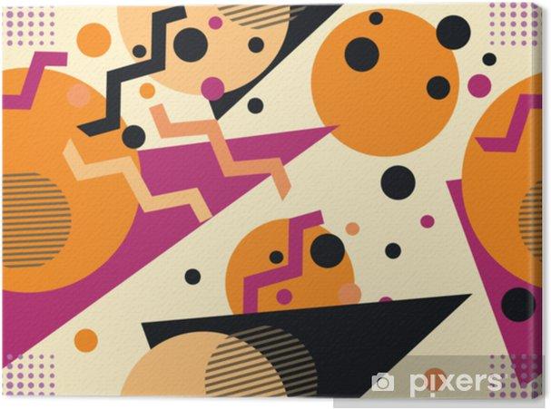 Canvas Memphis naadloze patroon, herfst kleuren. geometrische abstracte achtergrond in de stijl van de jaren 80, 90. vectorillustratie - Grafische Bronnen