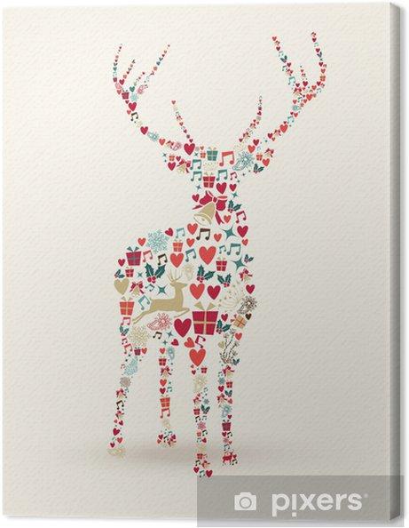 Canvas Merry Christmas herten illustratie - Internationale Vieringen