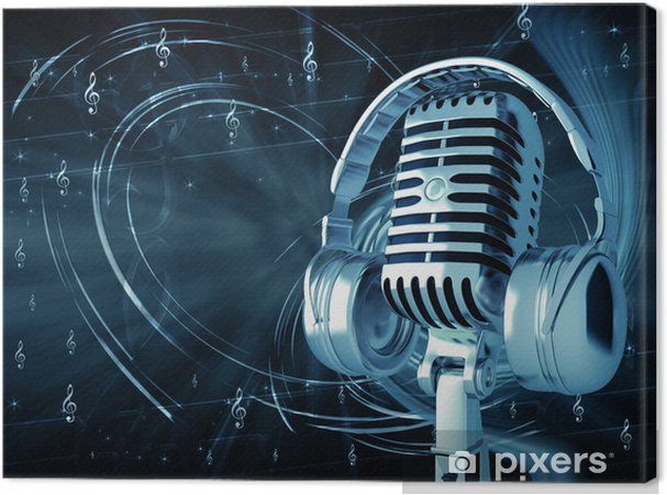 Canvas Microfoon met koptelefoon op muzikale achtergrond - Hiphop