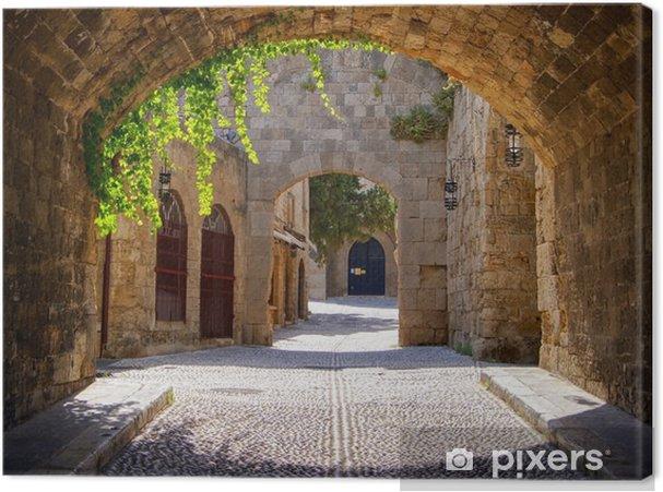 Canvas Middeleeuwse gebogen straat in de oude stad van Rhodos, Griekenland - Stijlen