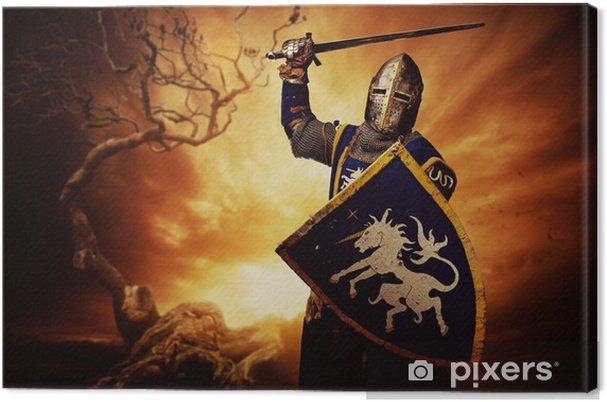 Canvas Middeleeuwse ridder meer dan stormachtige hemel. - Ridders