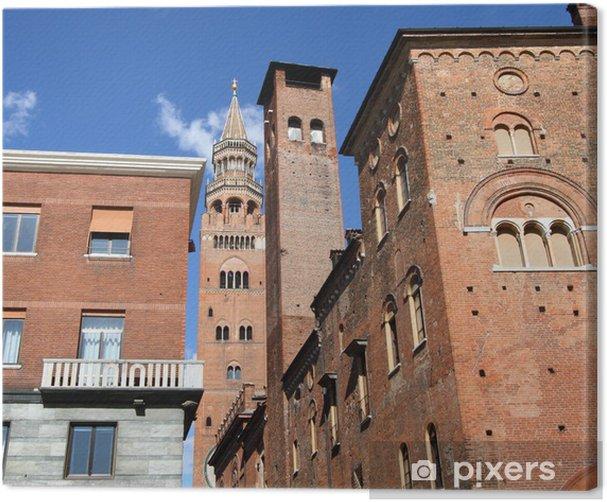 Canvas Middeleeuwse wolkenkrabbers in het historische centrum van Cremona, Italië - Europa