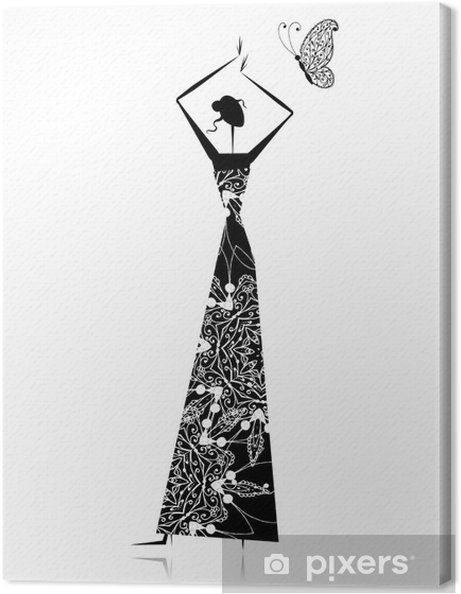 Trouwjurk Ontwerpen.Canvas Mode Meisje Silhouet In Trouwjurk Voor Uw Ontwerp Pixers