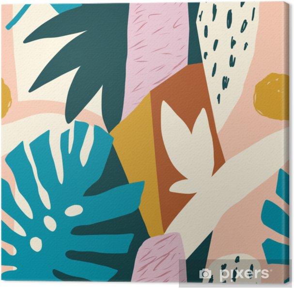 Canvas Moderne exotische jungle vruchten en planten illustratie in vector. - Bloemen en Planten