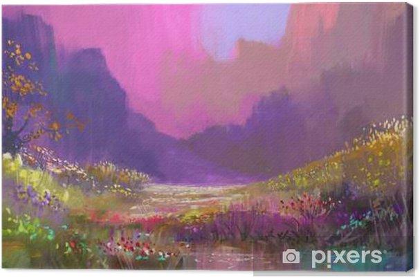 Canvas Mooi landschap in de bergen met kleurrijke bloemen, digitaal schilderen - Hobby's en Vrije tijd