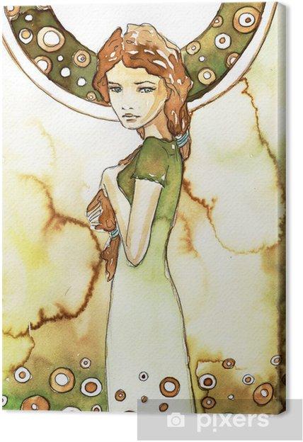 Canvas Mooi meisje in het groen Art Nouveau - Bestemmingen