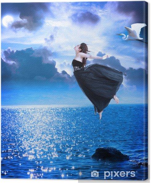 Canvas Mooi meisje springen in de nachthemel - Andere Gevoelens