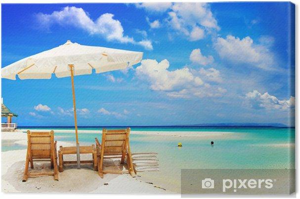 Strandstoel En Parasol.Canvas Mooi Tropisch Zandstrand Met Parasol En Strandstoel