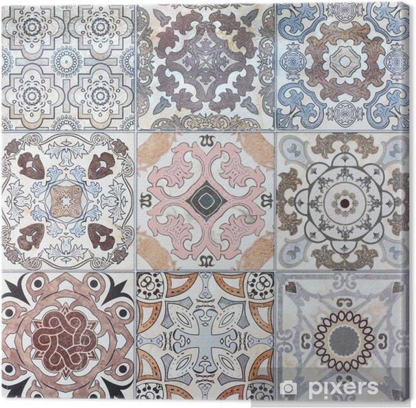 Canvas Mooie oude keramische tegels muur patronen in het openbaar park. - iStaging