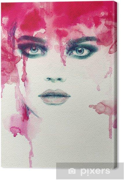 Canvas Mooie vrouw. aquarel illustratie - Mensen