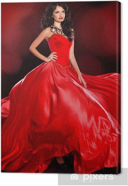 Mooie Rode Jurk.Canvas Mooie Vrouw Die In Een Prachtige Rode Jurk Die Op Bla