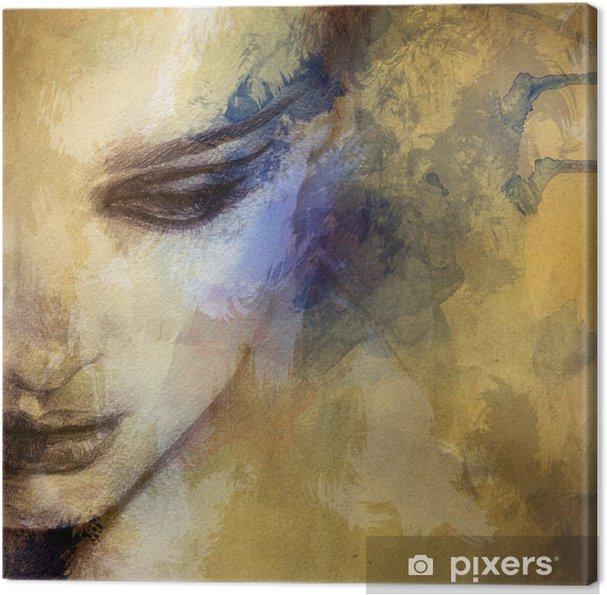 Canvas Mooie vrouw gezicht. aquarel illustratie - Stijlen