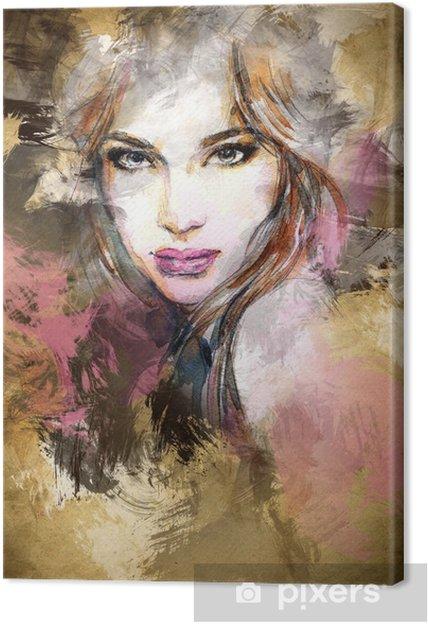 Canvas Mooie vrouw gezicht. aquarel illustratie -