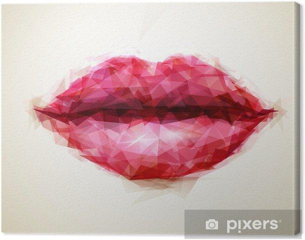 Canvas Mooie vrouw lippen gevormd door abstracte driehoeken - Thema's