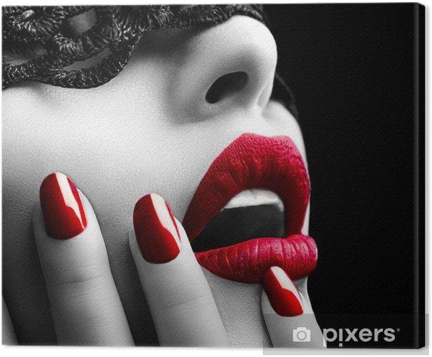 Canvas Mooie Vrouw met zwart kant masker over haar ogen - Stijlen