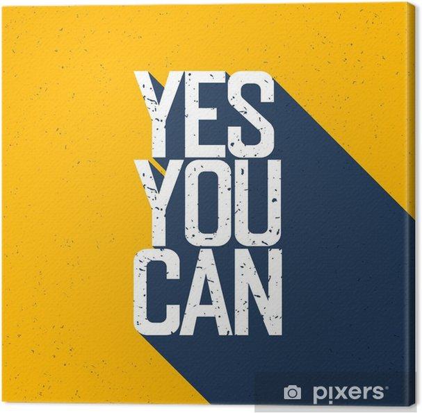 """Canvas Motieven affiche met het van letters """"Yes You Can"""". Schaduwen, op ye - Grafische Bronnen"""