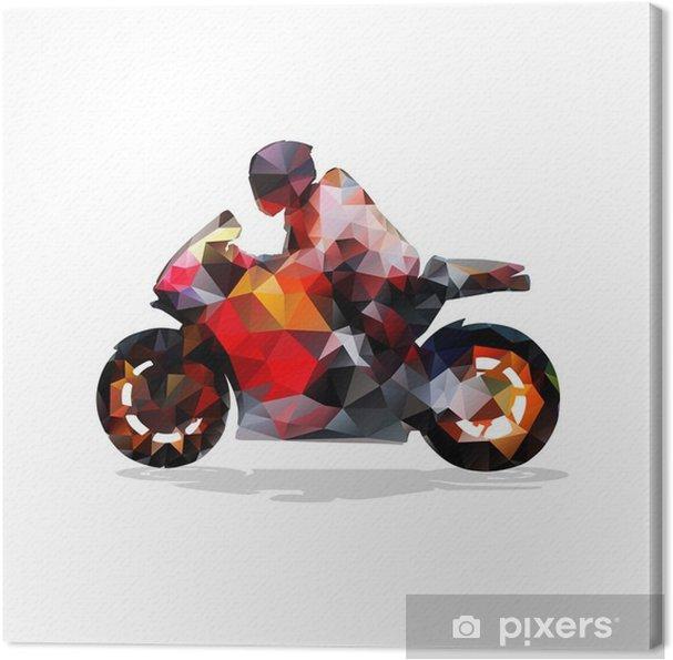 Canvas Motorbike, abstract geometrische vector silhouet. motorfiets rijden - Sport