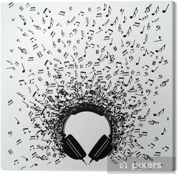 Canvas Muziek notities uit geïsoleerde hoofdtelefoon ontwerp - Muziek