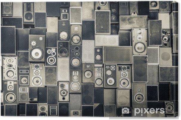Canvas Muziek speakers aan de muur in zwart-wit vintage stijl - iStaging