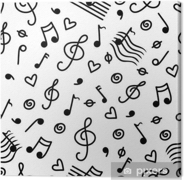 Canvas Muziek zwart-wit naadloos patroon - Hobby's en Vrije tijd