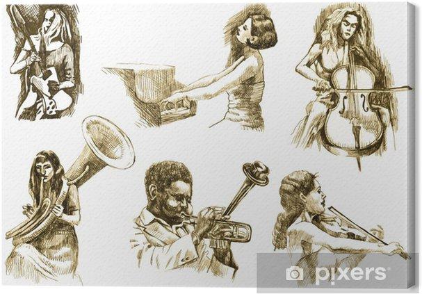 Canvas Muzikanten met muziekinstrumenten, tekeningen omgezet in vector - jazz
