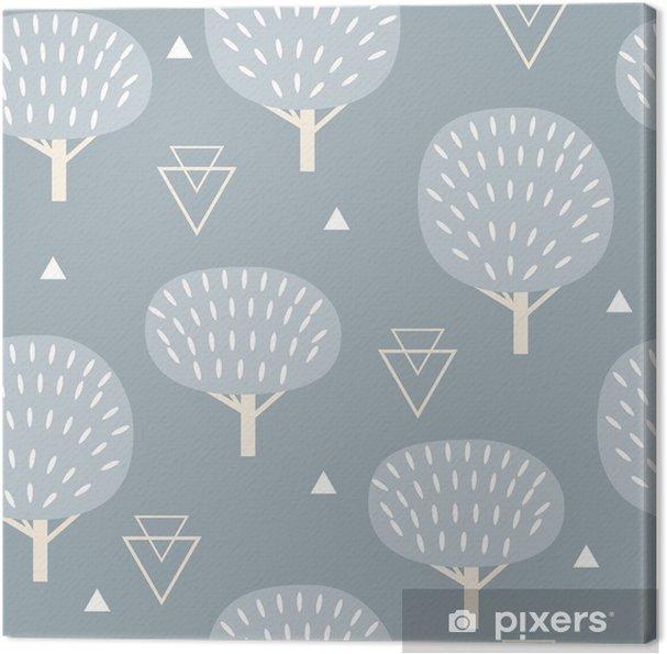 Canvas Naadloos patroon in moderne Scandinavische stijl. Vector geometrie achtergrond in het noorden van de natuur. -