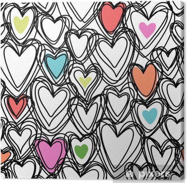 Canvas Naadloos patroon met doodle harten -
