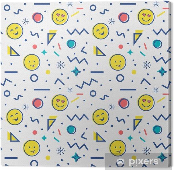 Canvas Naadloos patroon met emoji in de stijl van Memphis. - Grafische Bronnen