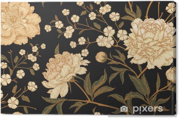 Canvas Naadloos patroon met exotische vogelfazanten en pioenbloemen. - Bloemen en Planten