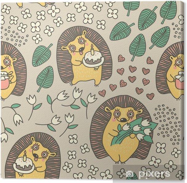 Canvas Naadloos patroon met leuke egels en bloemen - Viering