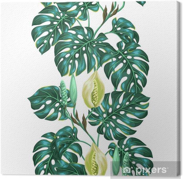 Canvas Naadloos patroon met monsterabladeren. Decoratief beeld van tropische bladeren en bloemen. Achtergrond gemaakt zonder knippen masker. Makkelijk te gebruiken voor de achtergrond, textiel, inpakpapier -
