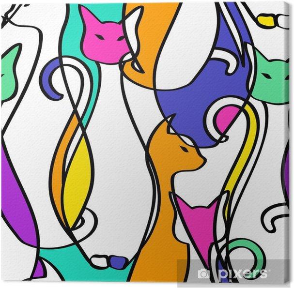 Canvas Naadloos Patroon Van Geometrische Samenvatting Cats. - Dieren