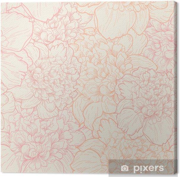 Canvas Naadloos patroon van pioenen - Stijlen