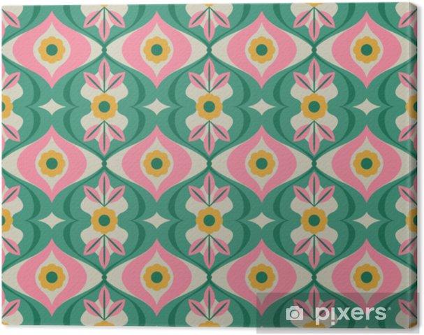 Canvas Naadloos retro patroon met bloemen en bladeren - Grafische Bronnen