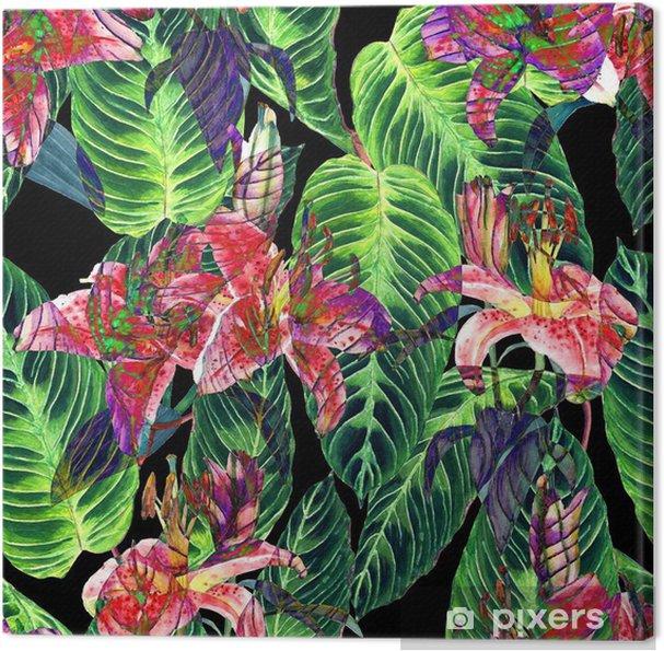 Canvas Naadloos tropisch bloemenpatroon. Roze lelies en exotische Calathea bladeren op een zwarte achtergrond, omgekeerd effect. Handgeschilderde aquarel kunst. Textuur van de stof. - Grafische Bronnen