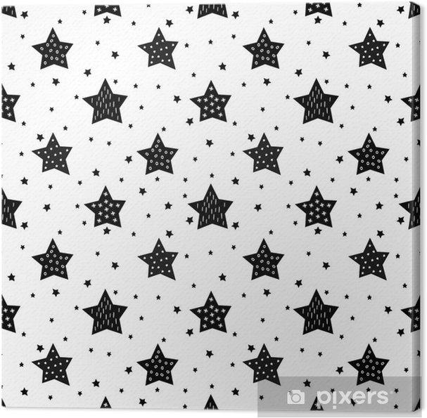 Canvas Naadloos zwart-wit patroon met schattige sterren voor kinderen. Baby shower vector achtergrond. Child tekenstijl xmas patroon. - Landschappen