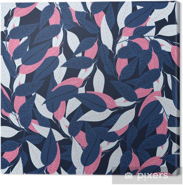 Canvas Naadloze bloemmotief. bladpatroon op donkerblauwe achtergrond voor drukontwerp. vectorillustratie - Bloemen en Planten