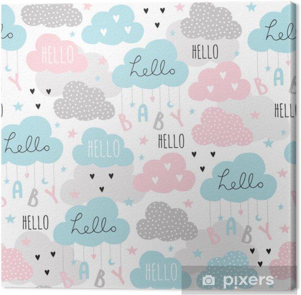 Canvas Naadloze hello baby wolken patroon vectorillustratie - Landschappen