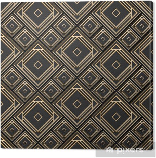 Canvas Naadloze patroon in art deco-stijl. zwart en gouden tilework. 3D-effect keramische tegels. luxe achtergrond. - Grafische Bronnen