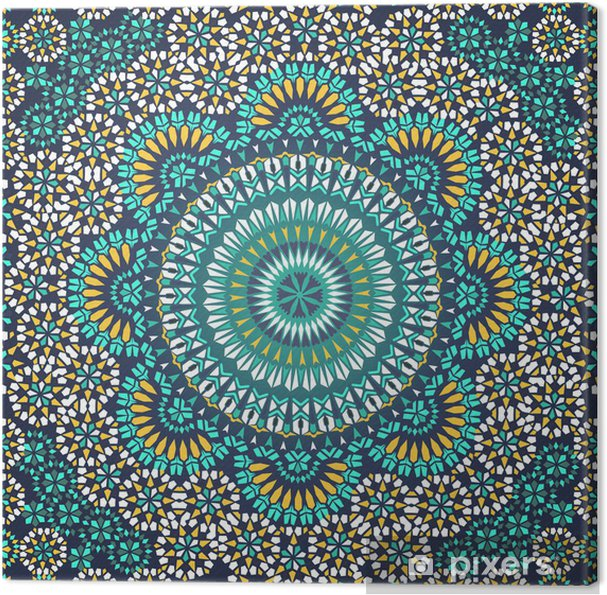 Canvas Naadloze Patroon in Mozaïek Etnische Stijl. - Mozaïek