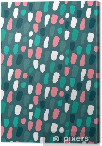 Canvas Naadloze patroon met de hand getekende abstract confetti textuur. - Kale Green Pantone