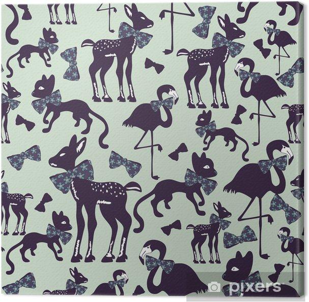 Canvas Naadloze patroon met dierlijke silhouetten - Achtergrond
