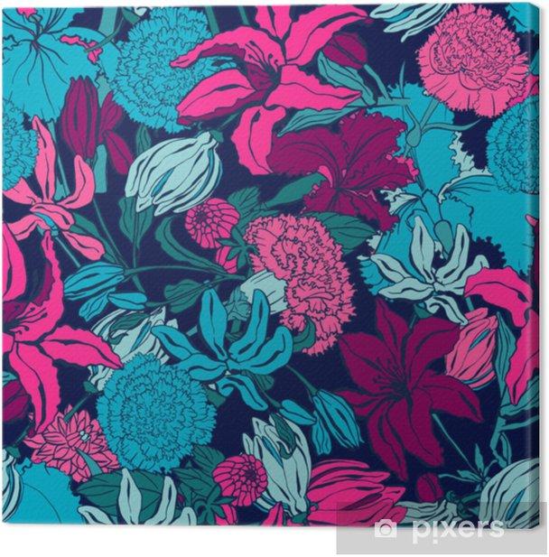 Canvas Naadloze patroon met lilium, ylang, rozen, anjer bloemen. kleurrijke vectorillustratie. afdrukken voor thuis textiel en kleding, stof, textiel - Grafische Bronnen