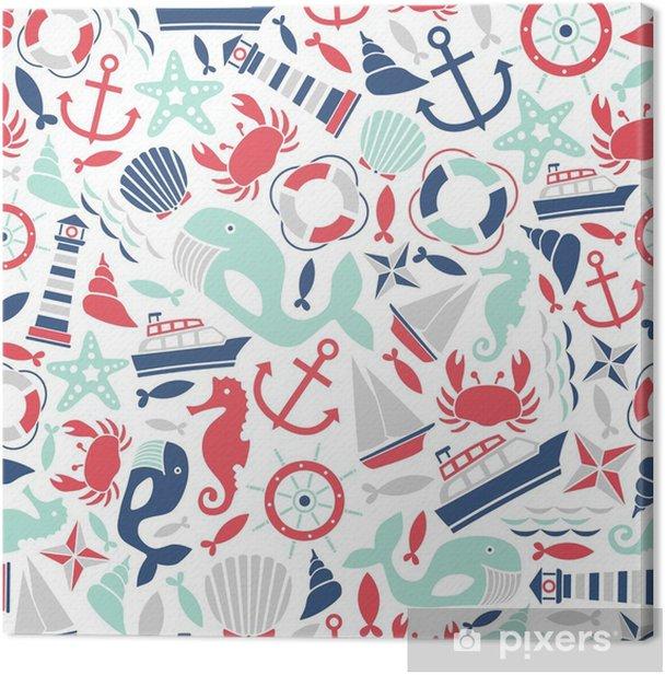 Canvas Naadloze patroon met zee iconen - Kinderkamer