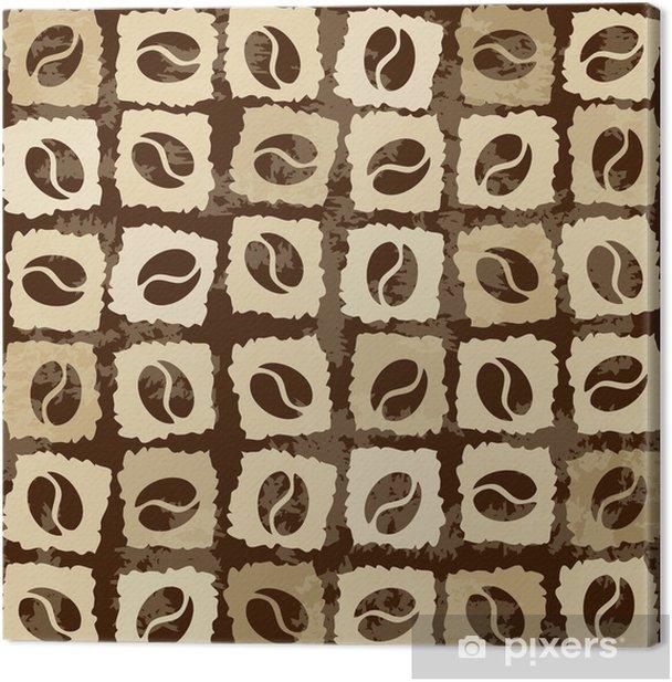 Canvas Naadloze patroon van koffiebonen - Warme Dranken